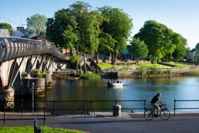 View of the Bridge in Carrick on Shannon with a Boat & a Cyclist , Great location for a Hen Party