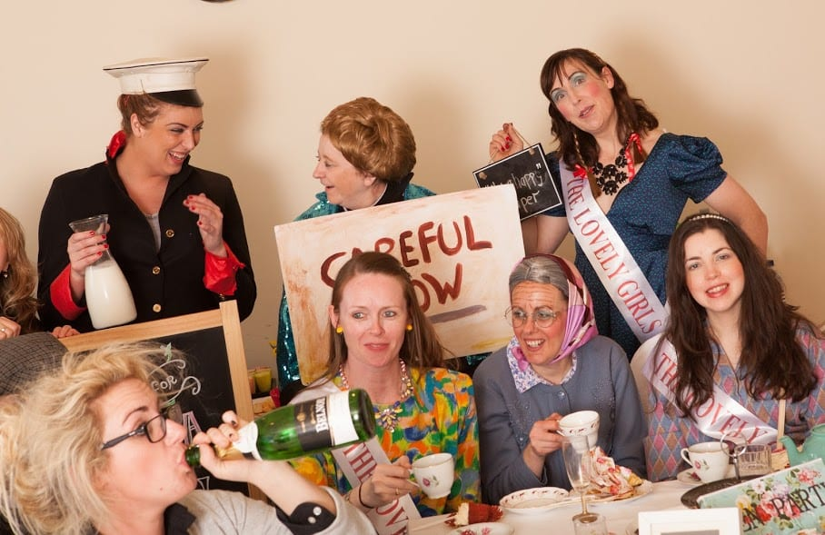 a hen party dressed as father ted characters
