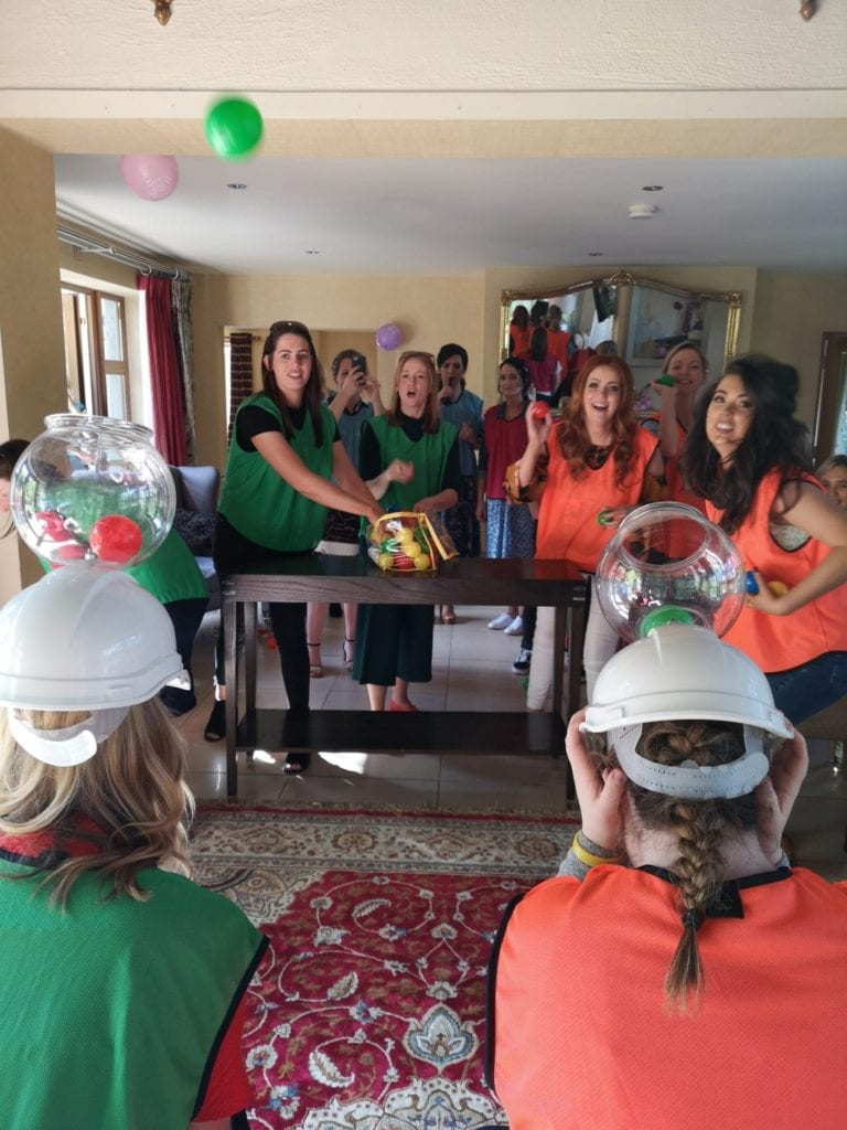 Hen party girls playing a Ball game - Part of a Hen Party Group Activity