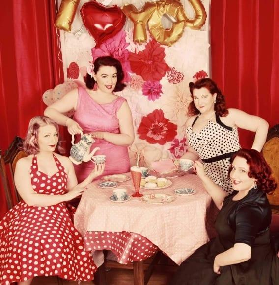 4 Ladies enjoying afternoon tea in Vintage costumes
