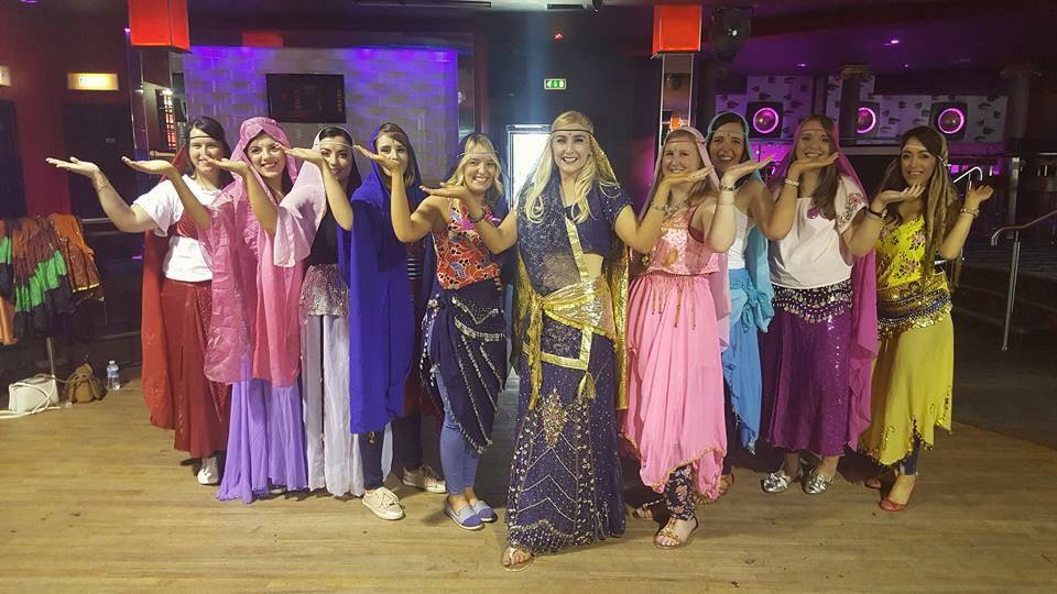 Group of girls dressed as Arabian Nights Theme Hen Party