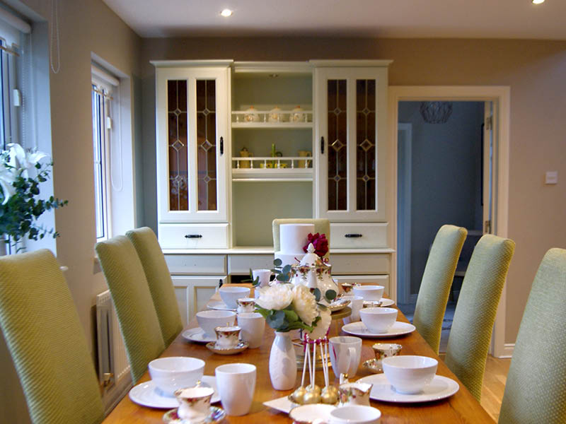 Dining room table laid of breakfast for 6 diners
