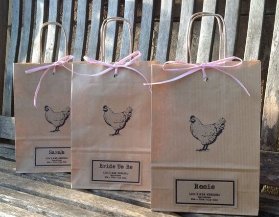 3 personalised brown bags with chickens on them
