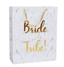 a white and gold bride tribe hen party survival bag