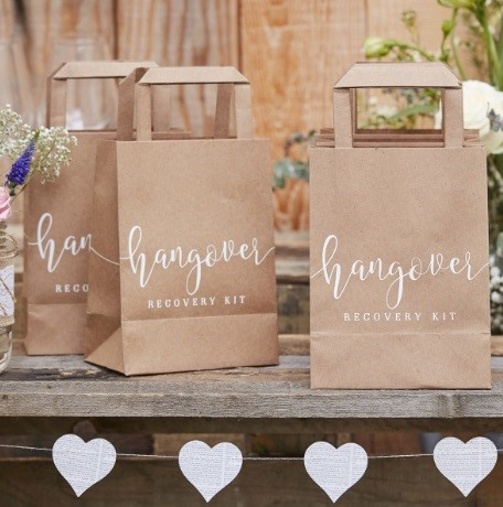3 personalised hen party brown bags for a hen party hangover kit