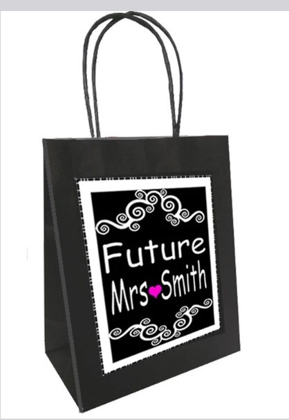 a black and white personalised survival bag for a hen weekend