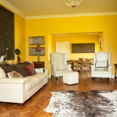 Large living room with yellow walls, wooden mural on the wall, artwork, sewing machine and antique equipment, chandelier, cream couches and armchairs, cream animal rug, white door and table and chairs in the background in bishopstown hen party house
