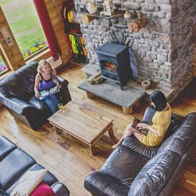 Eaglewood Lodge living room fireplace Westport Hen Party Houses, packages, ideas thehen_opt