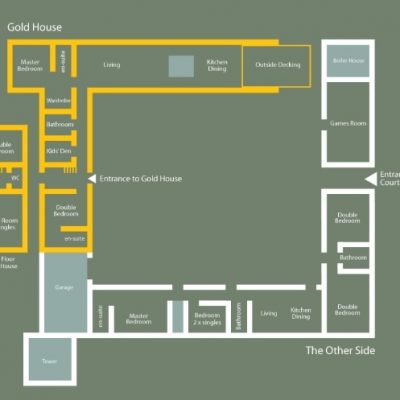 the layout of the rooms in the self catering house the stables