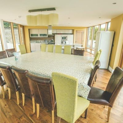 Extra large table and chairs set for breakfast in self catering house